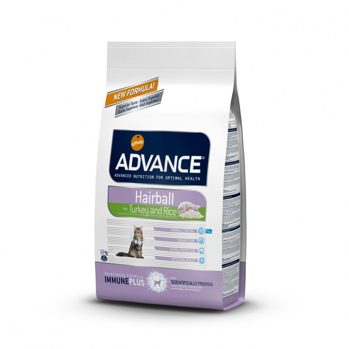 Advance Adult Turkey&Rice - Адванс корм для кошек для выведения шерсти индейка с рисом 1,5 кг