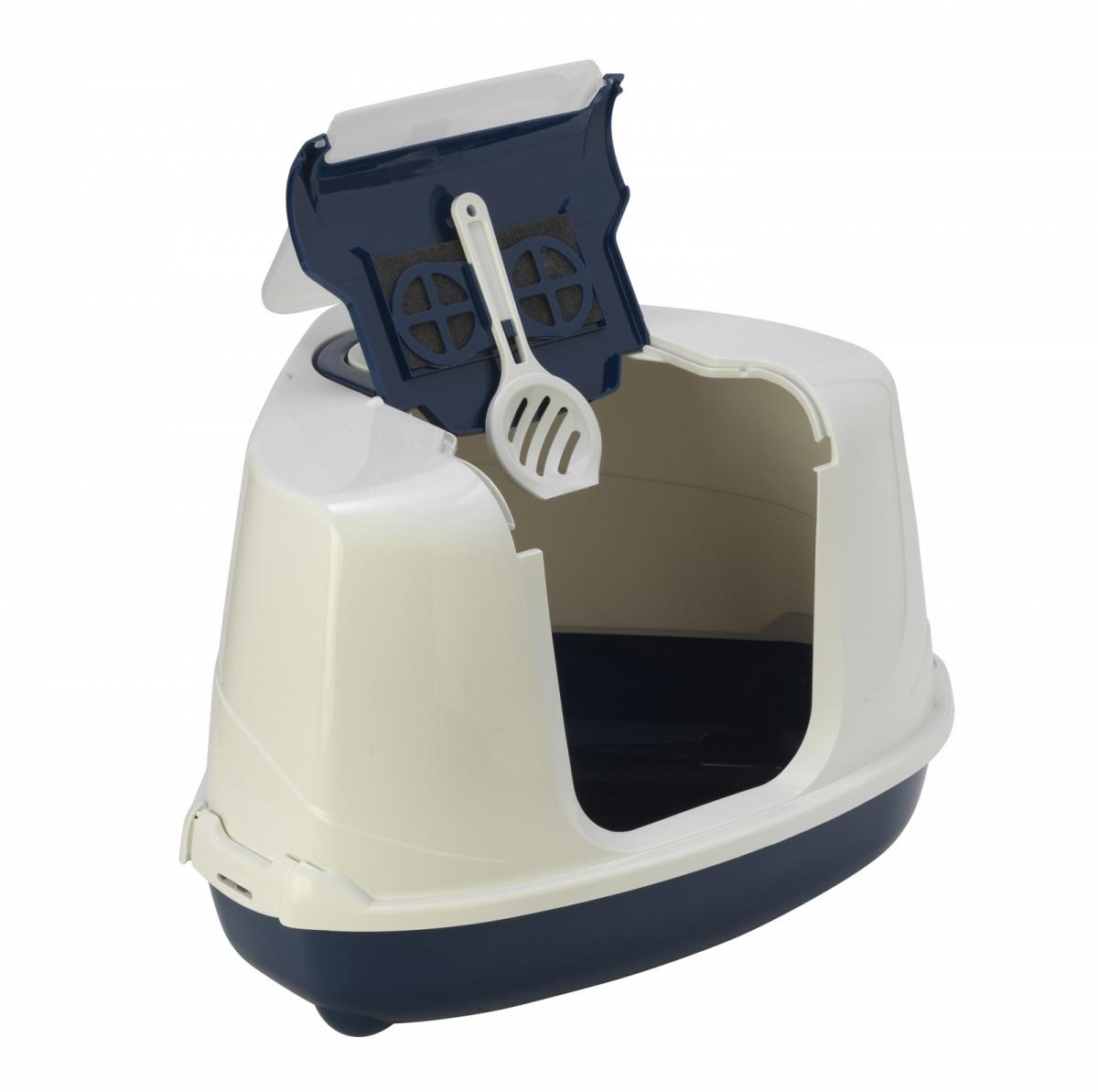24646/ С 250-331MODERNA Flip Туалет-домик для кошек 55х45х38 см черничный угловой