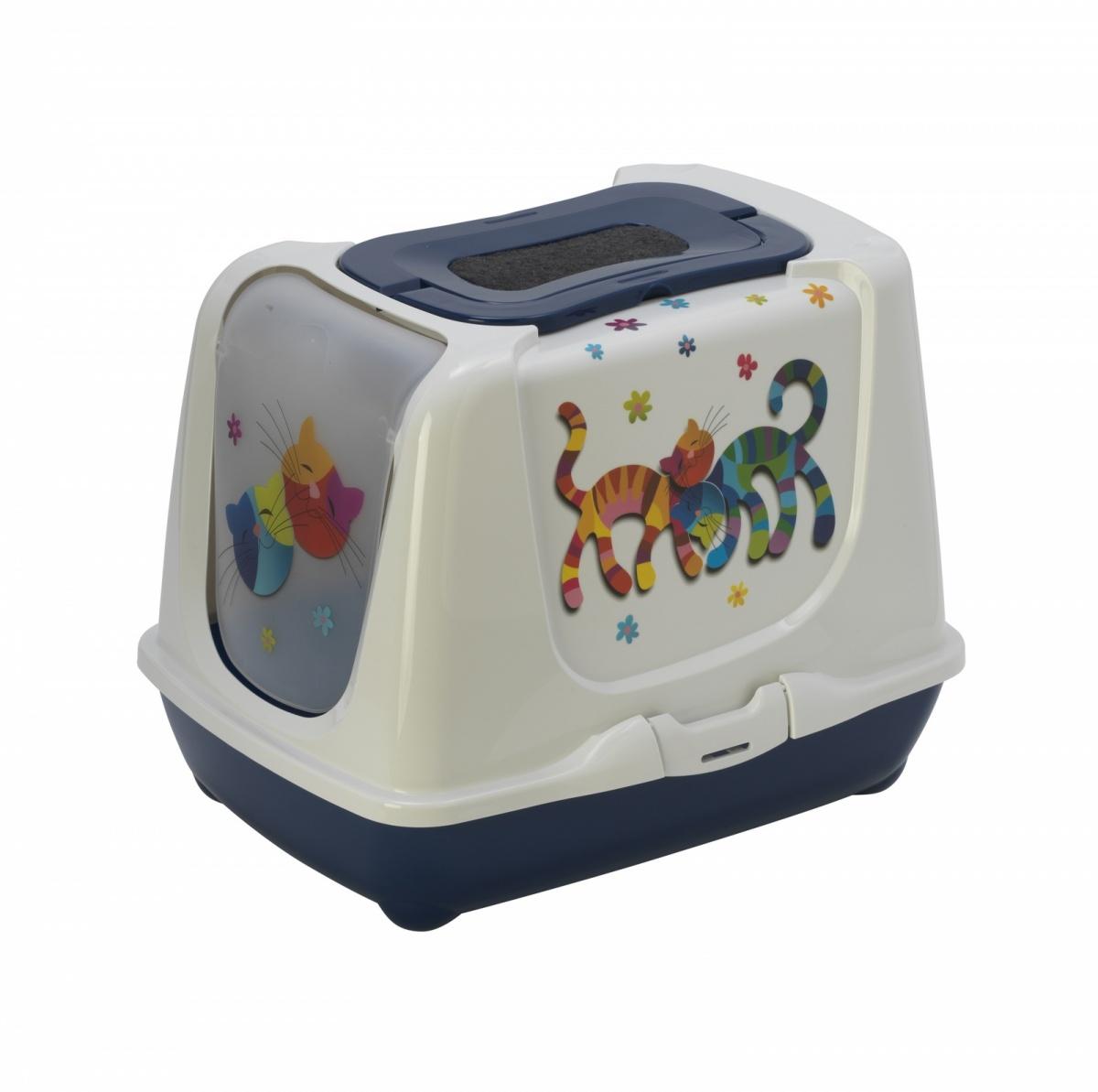 20497/С235-331 MODERNA Trendy Cat Туалет-домик для кошек с фильтром и совком 50x39.5x37.5 см черничный