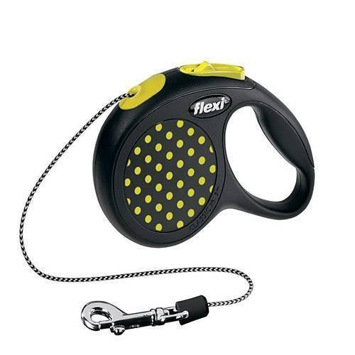 FLEXI DESIGN S рулетка - трос для собак 5м/15кг черный/желтый горох