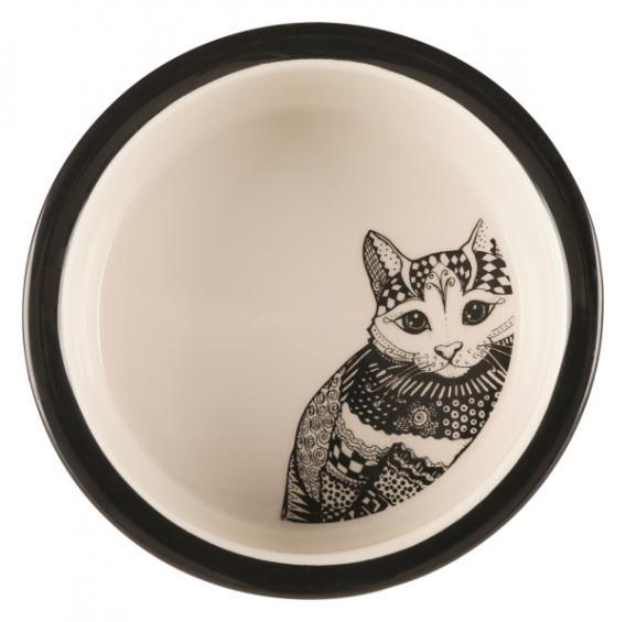 25120 TRIXIE Миска для кошек керамическая Zentangle 300 мл/12 см белый/черный