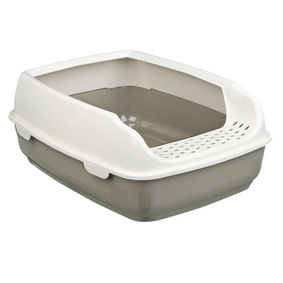 40393 TRIXIE Туалет с бортиком Delio 35x20x48 см, темно-серый/кремовый