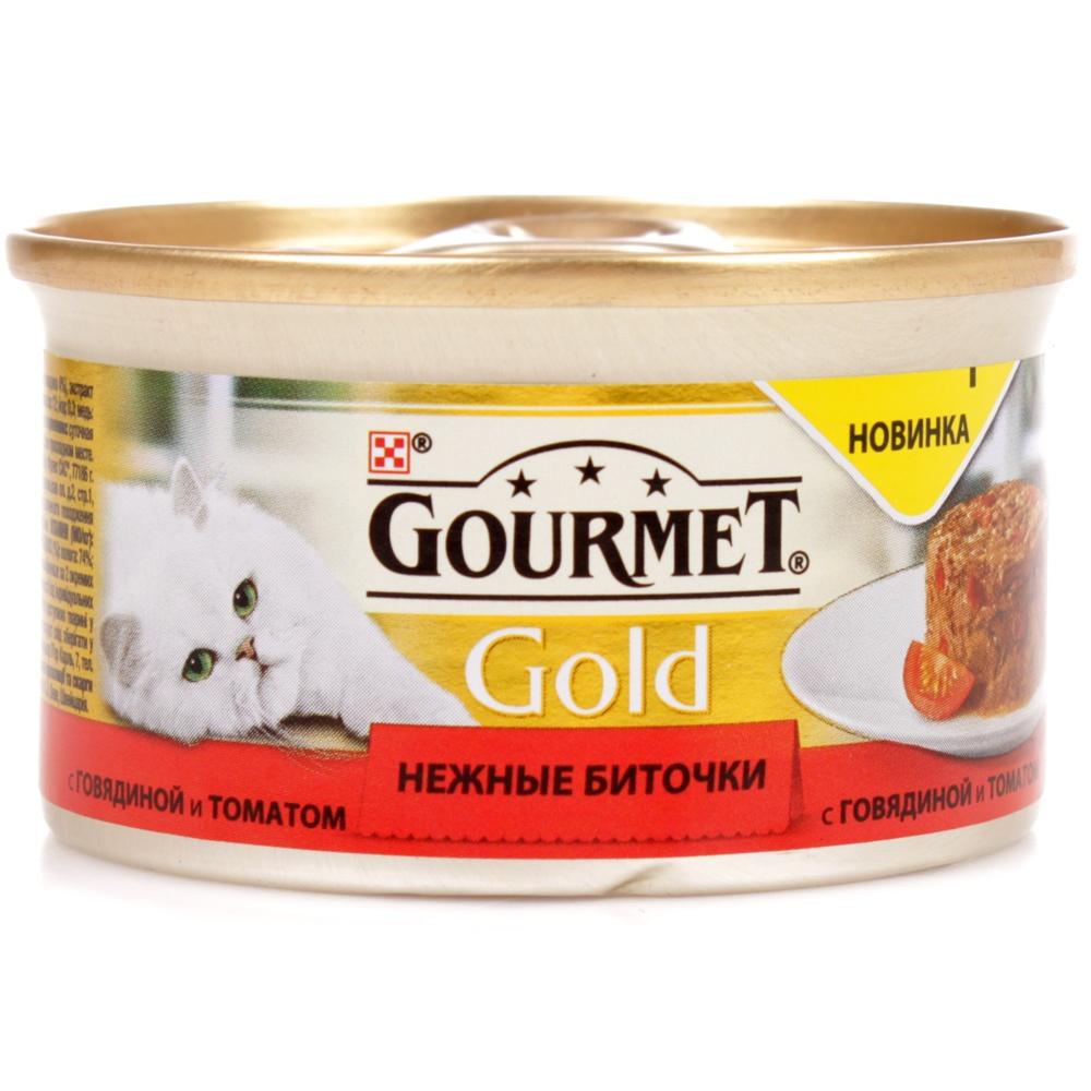 GOURMET GOLD Консервы для кошек Нежные Биточки говядина с томатами 85 гр