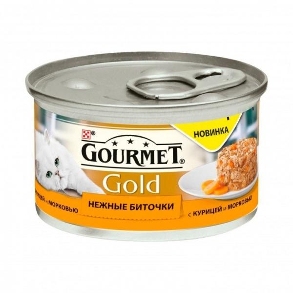GOURMET GOLD Консервы для кошек Нежные Биточки курица с морковкой 85 гр