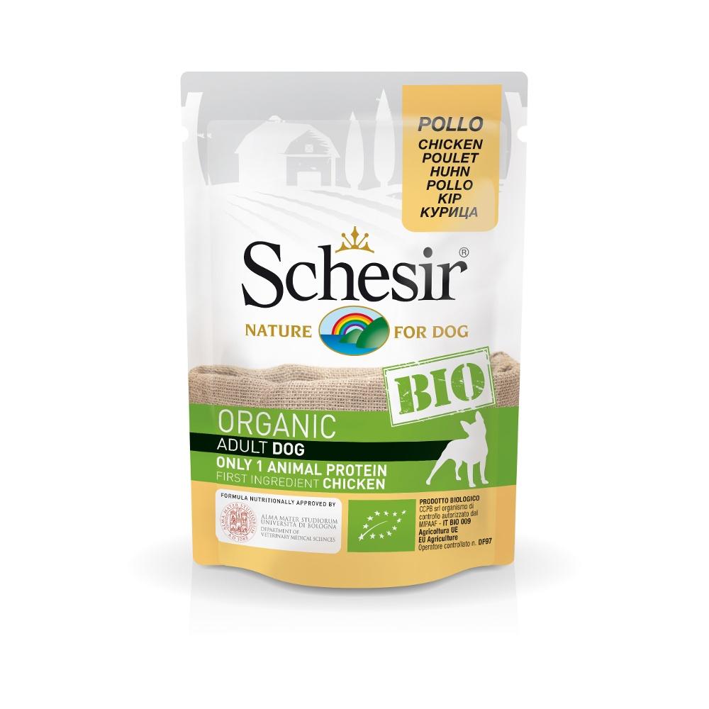 Schesir Bio консервы для собак курица, пауч 85г