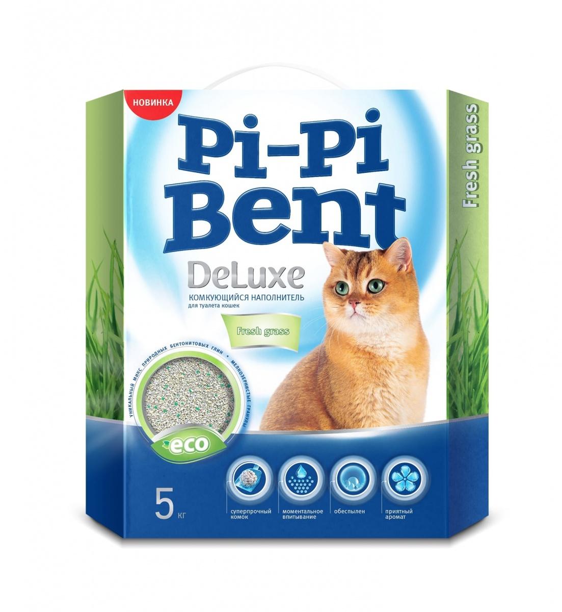Pi-Pi Bent DeLuxe Fresh grass ароматизированный комкующийся, коробка 5 кг