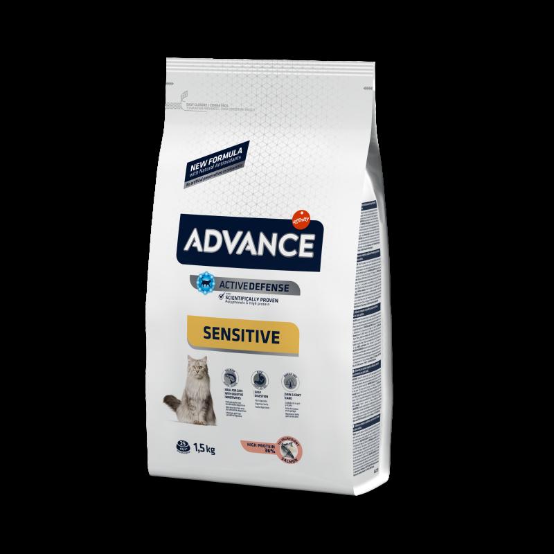 Advance Adult Salmon&Rice Sensitive - Адванс корм для кошек с чувствительным пищеварением лосось с рисом 10кг