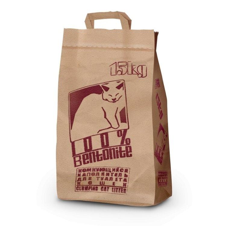 Приют 108 кошек. Pi-Pi-Bent комкующийся наполнитель (бумажный пакет) 15 кг