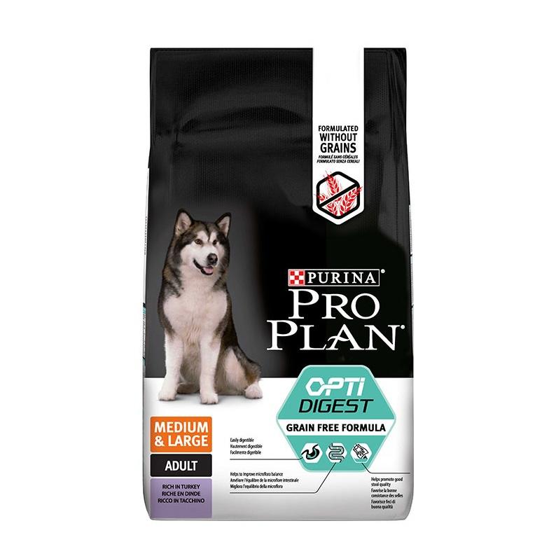 Pro Plan GrainFree сухой беззерновой корм для собак средних и крупных пород с чувствительным пищеварением с индейкой 12 кг