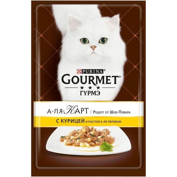 Gourmet ALCTE - Гурмэ А-ля Карт паучи для кошек, c курицей и пастой в подливе 85 гр
