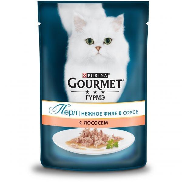 Gourmet PERLE - Гурмэ Перл паучи для кошек, нежное филе в соусе с лососем 85 гр