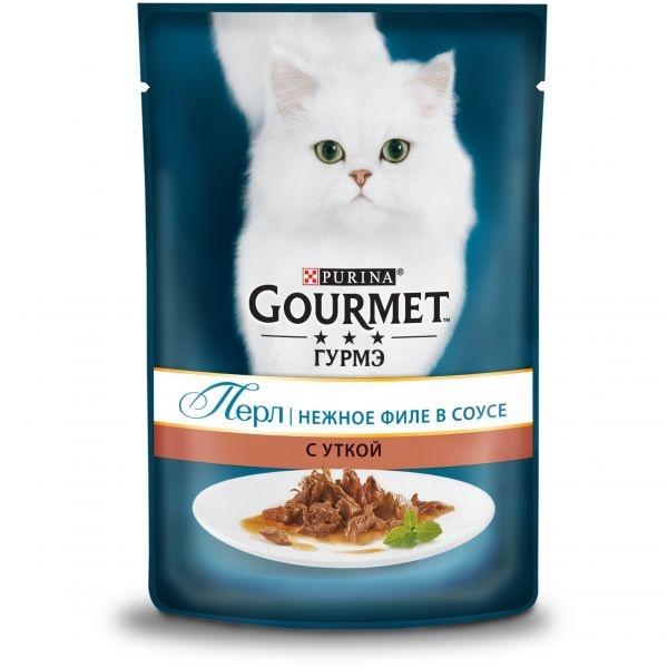 Gourmet PERLE - Гурмэ Перл паучи для кошек, нежное филе в соусе с уткой 85 гр
