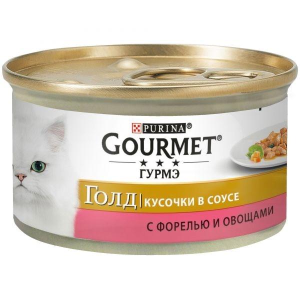 Gourmet GOLD - Гурмэ Голд консервы для кошек, кусочки в соусе с форелью и овощами 85 гр