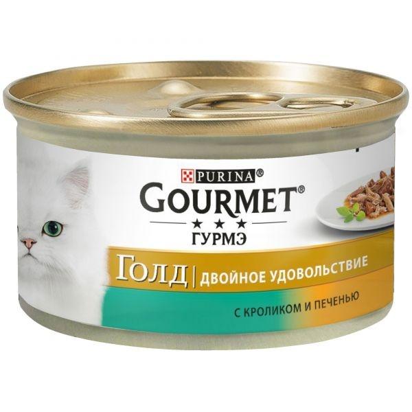 Gourmet GOLD DUO - Гурмэ Голд консервы для кошек, двойное удовольствие с кроликом и печенью 85 гр