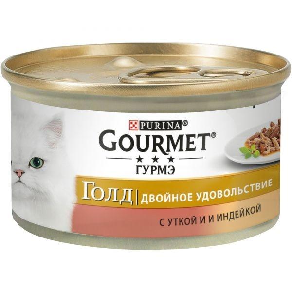 Gourmet GOLD DUO - Гурмэ Голд консервы для кошек, двойное удовольствие с уткой и индейкой 85 гр