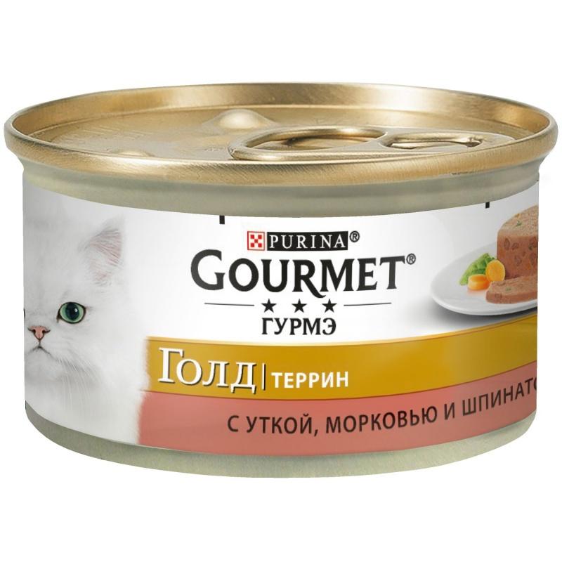 Gourmet GOLD - Гурмэ Голд консервы для кошек, террин с уткой, морковью и шпинатом 85 гр