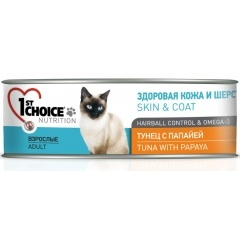 1st Choice Skin & Coat, Tuna with Papaya - Консервы для кошек тунец с папайей 85 гр