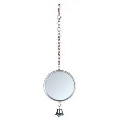 5221 TRIXIE Игрушка для птиц Зеркало 50 мм на цепочке с колокольчиком