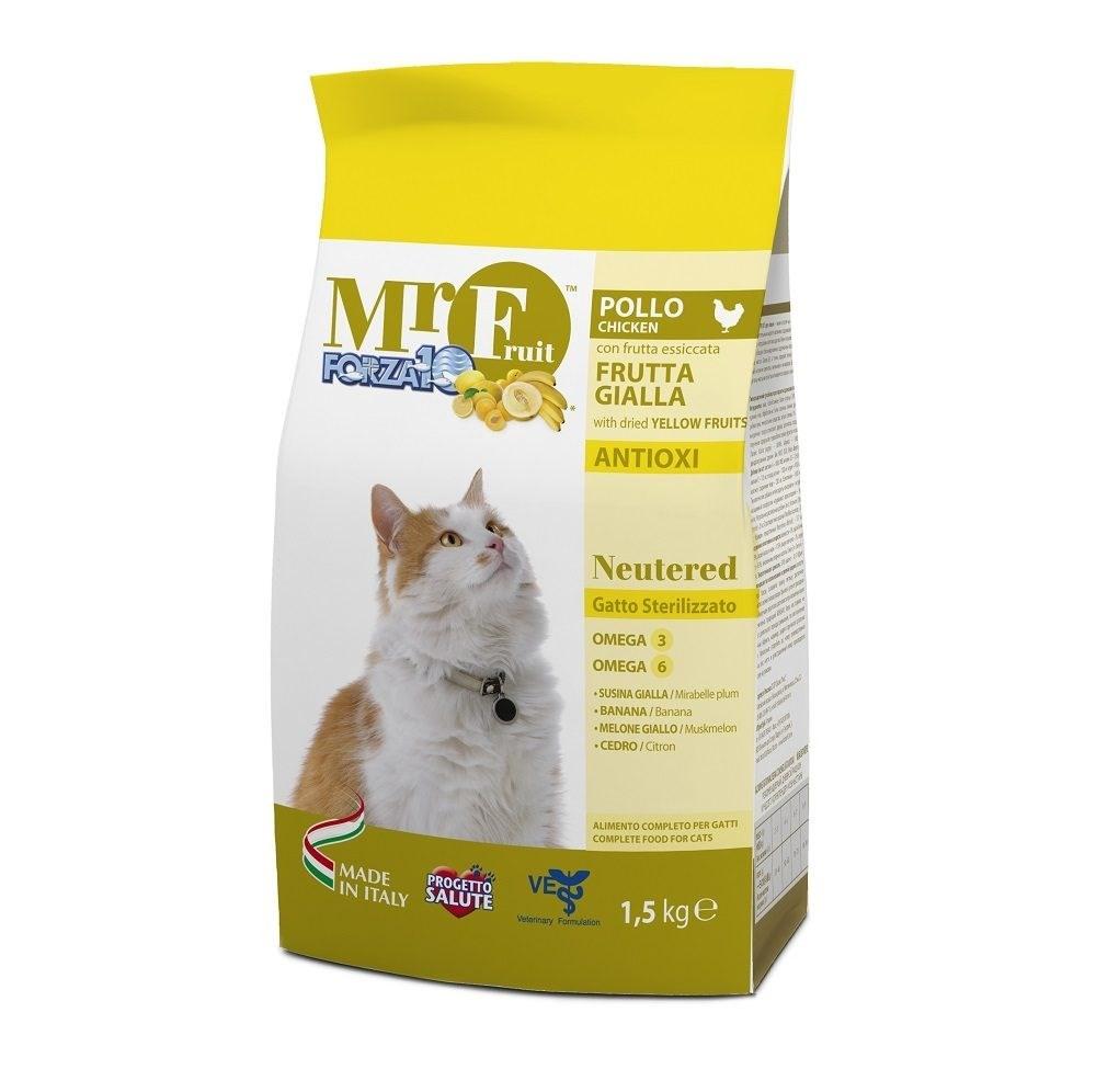 Приют 108 кошек. FORZA10 Mr.Fruit Neutered Корм для стерилизованных кошек с курицей, рисом и кукурузой