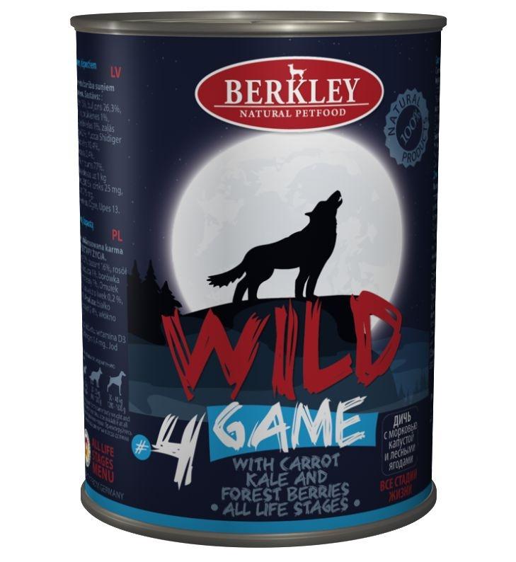 Berkley Dog Wild Goose #4 Беззерновые консервы для щенков и собак Дичь с морковью, капустой и лесными ягодами 400 гр