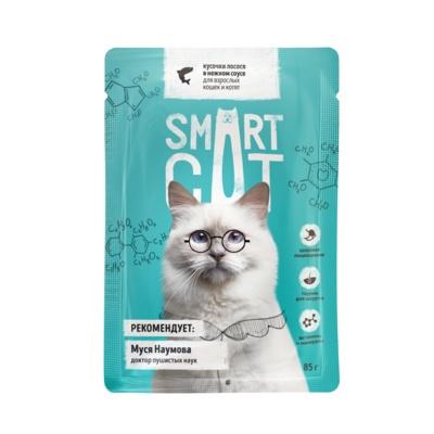 БАБУШКАНАКОРМИТ. Smart Cat консервы для взрослых кошек и котят кусочки лосося в нежном соусе 85 гр (паучи)