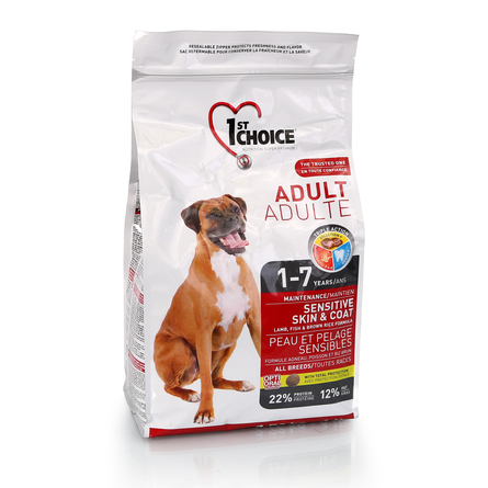 1ST CHOICE Adult Фест Чойс сухой  корм для собак с чувствительной кожей и для шерсти, ягненок+рыба+рис