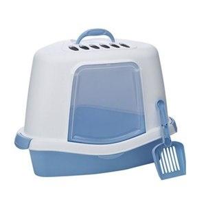 30117 STEFANPLAST Туалет закрытый угловой SPRINT CORNER FELIX PLUS с совком и фильтром 40x56x40 см СИНИЙ